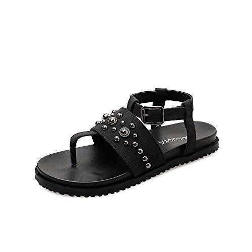 Confortables Femmes d'été Sandales LEIT Sandals Humain Flat Toe Black Caractère Clip 5xXn4q