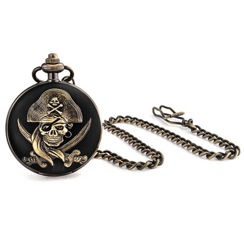 Caribbean Pirate Skull Crossbones White Dial Pocket Watch for Men Black Plated Oxidized Bronze Alloy with Chain (Pirate Pocket Watch)