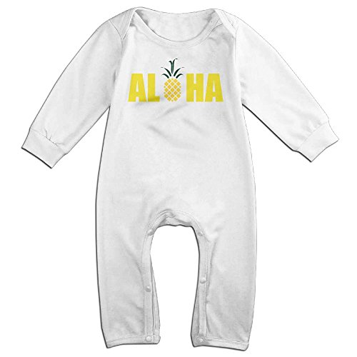 Aloha Set Child Teen Costumes (Baby Infant Romper Aloha Pineapple Long Sleeve Playsuit Outfits White 24 Months)