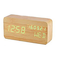 3E Home 31-2200 LEDWooden Digital Clock Alarm ClockDisplaying Date Time Temperature and Voice Touch Activated (Bamboo, Green LED)
