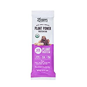 22 Days Nutrition Low Calorie Organic, Gluten Free, Vegan, Soy Free, Dairy Free, Real Food, 15g Protein, Low Sugar (5g), Fiber (9g) Peanut Butter Chocolate Chip Plant Based Protein Bars, 4 Count