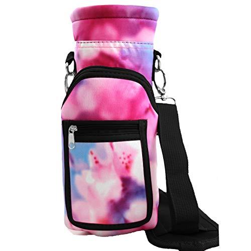 Kisa Water Bottle Holder Carrier Flask Swell Type Bottles Adjustable Shoulder/Hand Strap 2 Pocket Sling Neoprene Sleeve Hiking Travel Hydro 16oz 17oz 20oz 24oz 25oz 32oz 40oz (Medium, Floral)