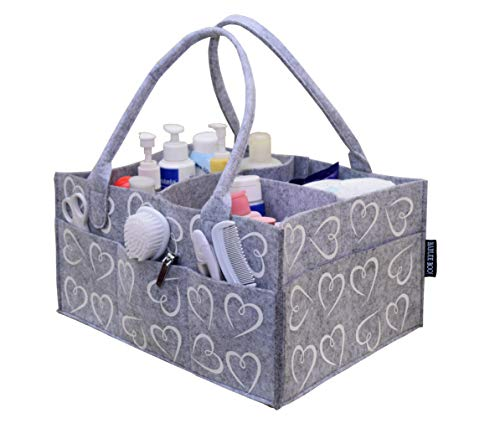 Bablee Boo! Magical Hearts Caddy – Diapers, Wipes, Toys, Blankets Easy Storage Organizer - Baby Shower Gift for New Parents | Large 14x10x7 inches |