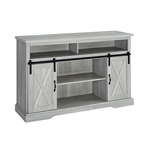 Pemberly Row 52 Sliding Door TV Stand Console in Stone Gray Barnwood