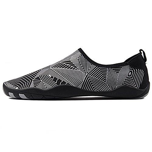 WateLves Wasserschuhe Mens Womens Beach Swim Schuhe Quick-Dry Aqua Socken Pool Schuhe für Surf Yoga Wassergymnastik Jh.silver