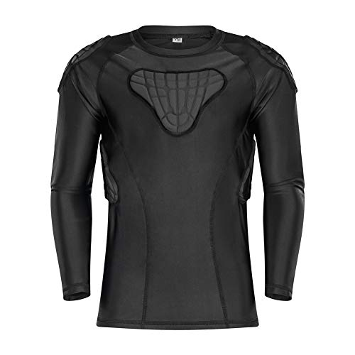 """TUOY Kids Youth Padded Compression Shirt - Long Sleeve Padded Protective Shirt for Football Baseball (YXL(Chest:30.5-32""""), Long Sleeve Shirt)"""