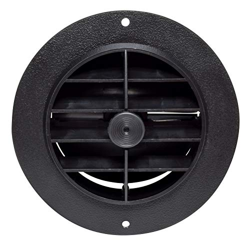 """Valterra A10-3353VP Rotating/Dampered Heating and A/C Register-4"""" ID x 5-3/8"""" OD, Black"""