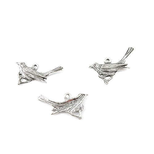 10 PCS Jewelry Making Charms CJ0037 Cuckoo Bird Antique Silver Tone Bulk Lots Pendant Findings Supplies Crafting Charme