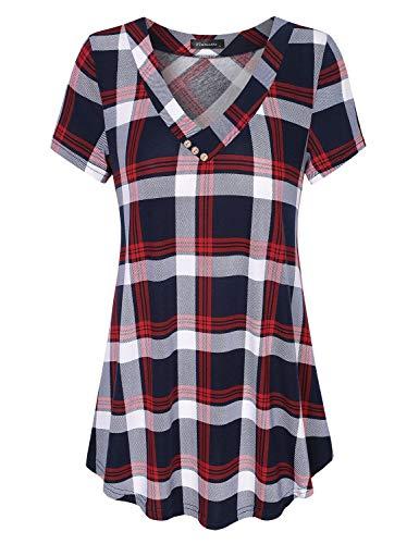 Vinmatto Women's Short Sleeve V Neck Flowy Tunic Top(3XL,Plaid Red)