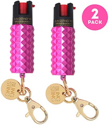 BLINGSTING Pepper Spray Keychain for Women Professional Grade Maximum Strength OC Formula 1.4 Major Capsaicinoids 12 Ft Effective Range Accurate Stream Self-Defense Accessory Designed for Women