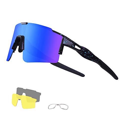 DUDUKING Fietsbril Gepolariseerde Zonnebril met 3 Verwisselbare bril UV400 Bescherming voor Mannen en Vrouwen, voor…