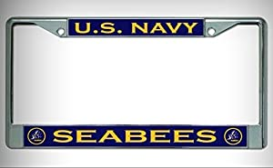 U.S. Navy Seabees Chrome License Plate Framefor Home/Man Cave Decor by PrettyMerchant by Man Cave Decorative Signs