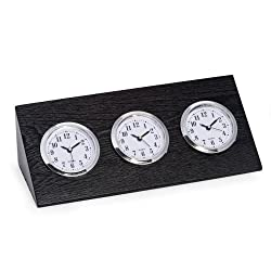Bey-Berk Triple Time Zone Clock in Black Wood