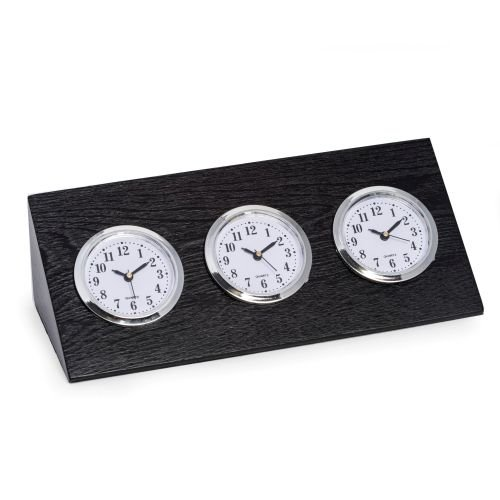 - Bey-Berk Triple Time Zone Clock in Black Wood