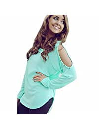 Tenwolrd Women Hollow Out Shoulder Long Sleeve Rivets Blouse Top Shirts