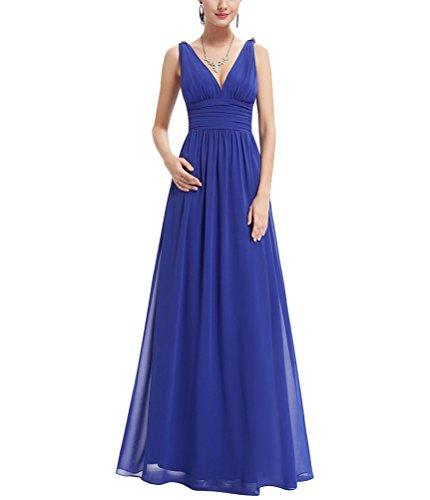 e2f1e4658d60 MILEEO Damen V-Ausschnitt Ärmellos A-line Kleid Lang Chiffon Rückenfrei  Abendkleider Festkleider Partykleider