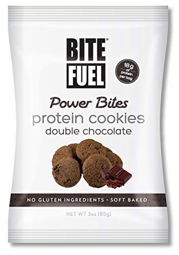 BITE FUEL Power Bites High Protein Cookies, Non GMO, Gluten Free Low Carb - Double Chocolate Chip Cookies, 3 Oz (8 Pack)
