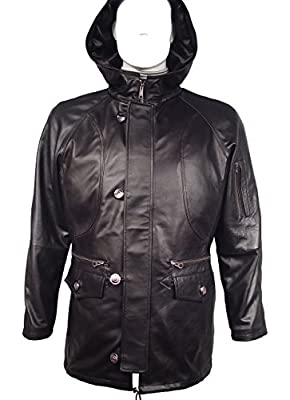 NETTAILOR 1104 Expensive Soft Lamb Leather Duffle Coats with Hood for Mens