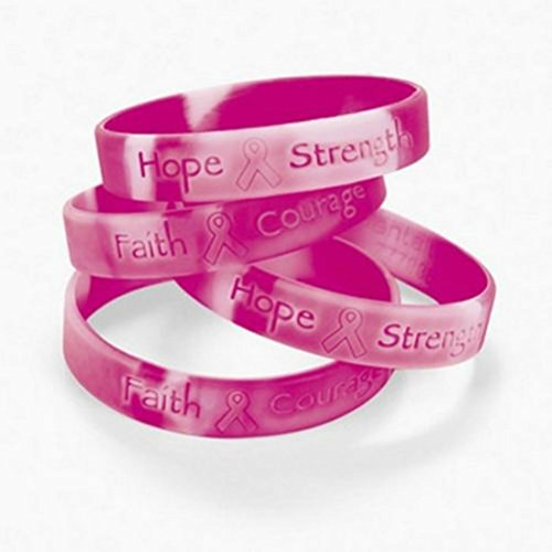 Breast Cancer Awareness Rubber ((12) Pink Ribbon Camouflage Camo Breast Cancer AWARENESS Bracelets (1 dozen))