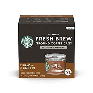 Starbucks Medium Roast Fresh Brew Ground Coffee Cans — Pike Place Roast — 4 boxes (32 cans total)