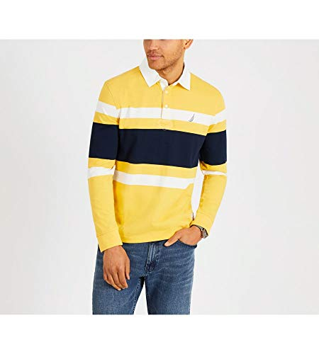 Nautica Men's Striped Heavy Weight Jersey Long Sleeve Polo Shirt, Mustard Field, Small - Nautica Cotton Rugby