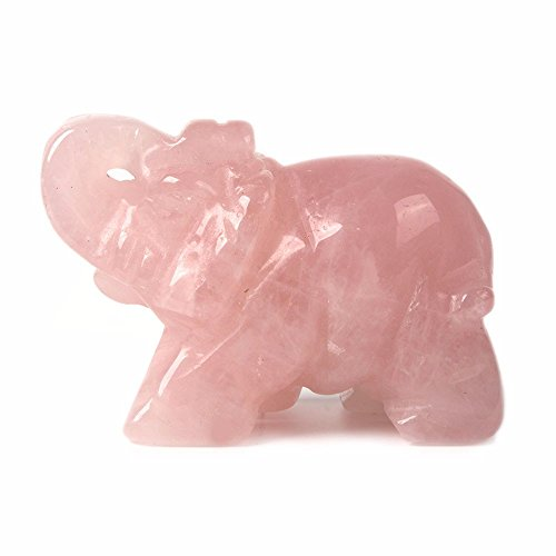Carved Natural Rose Quartz Gemstone Elephant Healing Guardian Statue Figurine Crafts 2 inch ()
