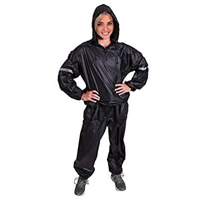 1UP Elite Sauna Suit Thermal Heavy Duty Fitness Weight Loss Sweat Exercise Gym Anti-Rip Black L