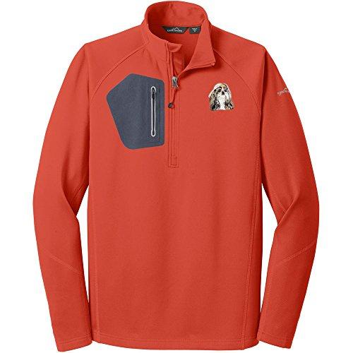 Cherrybrook Dog Breed Embroidered Eddie Bauer Mens Half Zip Performance Fleece Jacket - Small - Cayenne Orange - Shih (Shih Tzu Fleece)