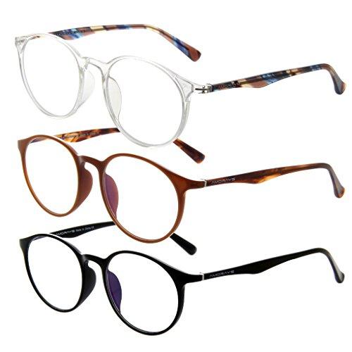 Amorays 3 Pairs Womens Mens Round Oversized Acetate Reading Glasses Fashion Unisex Magnifier Readers AM502 - Versace Round Oversized Sunglasses