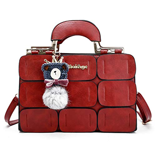 The new spring/summer bags for women Boston bag leather inclined shoulder bag fashion handbags for women (red)