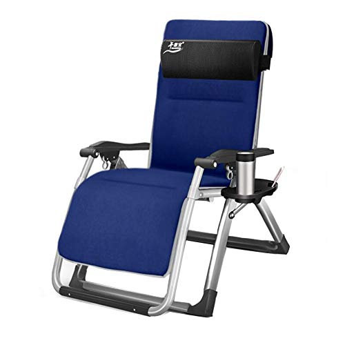 Lounge Mobile Chaise Adjustable - MLMHLMR Sun Recliner Bed Reclining Chair Folding Gravity 1 Side Tray Beverage Mobile Phone Holder Folding Chair (Color : Blue)