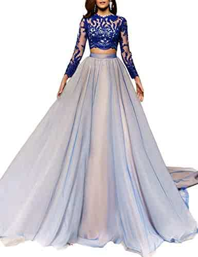 df5bd3a7df2 MKbridal Womens Two Piece Long Sleeve Prom Dresses 2019 Lace Tulle Evening Formal  Gown with Train