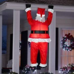 Gemmy Airblown Inflatable Realistic Santa Hanging from Gutter - Indoor  Outdoor Holiday Decoration, Approximately 6.5
