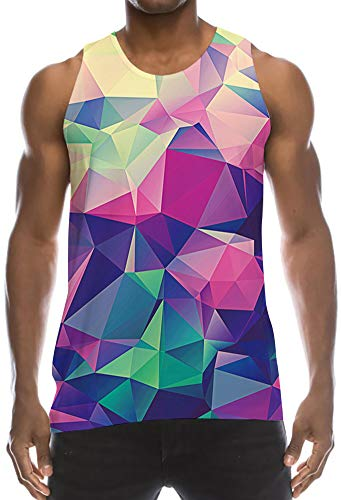 Mens Loose Fit Muscle Tank Singlet Tops Purple Navy Blue Beige Yellow Mint Green Geometric Cool Design Graphic Retro Wife-Beater Vest Fashion School Baggy Cut Off Tees Shirt for Dude Bro Dad Guys