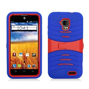 CY RUGGED Dual Layer Armor Cover Case With Kick Stand For ZTE Mustang / Z998 (Include a Free CYstore Stylus Pen) - Red/Blue