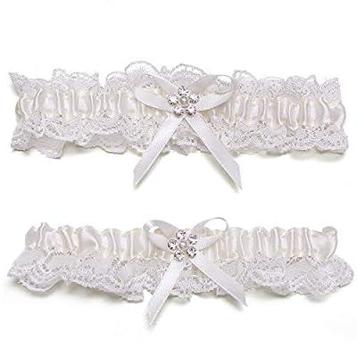 GARGALA Wedding Garters for Bride Garter Ivory White Garter Bridal Garter with Rhinestone Satin Bow Plus Size Option