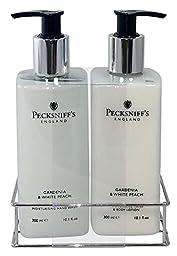 Pecksniffs Gardenia & White Peach Hand Wash and Body Lotion Set, 300ml 10.1 fl. oz. each