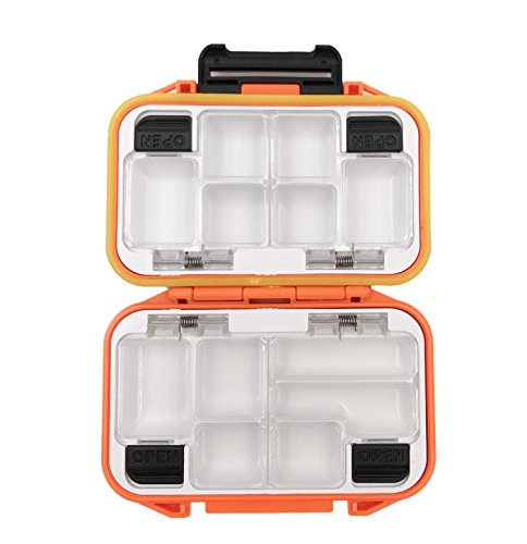 MilepetUS Waterproof Fishing Lure Boxe Spoon Hooks Baits Storage Tackle Box Containers for Casting Fishing Fly Fishing,Large/Medium/Small Lure Case Available (Orange-Small)