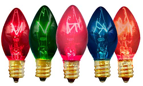 EST. LEE DISPLAY L D 1902 Multi-Color Christmas Light Bulbs Transparent Clear Red Blue Green Pink & Orange Steady Box of 25 C7 E12 Roof Holiday Tree Home Decorating Incandescent Outdoor Lighting
