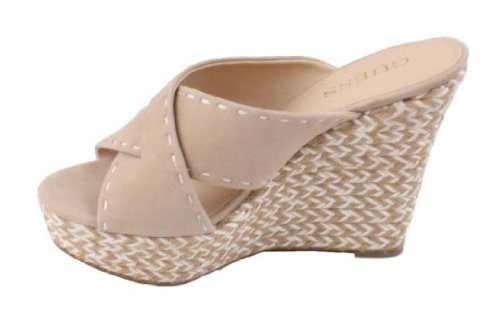 GUESS Women's Laine Woven Wedge Sandals, LIGHT NATURAL SUEDE (8 1/2)