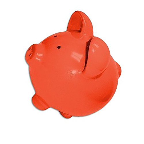 "Completely Custom {13"" x 13'' Inch} 1 Single Large, Coin & Cash Bank Decoration for Holding Money, Made of Grade A Genuine Ceramic w/ Contemporary Solid Colored Bank Piggy Style {Orange & Black} by mySimple Products (Image #1)"