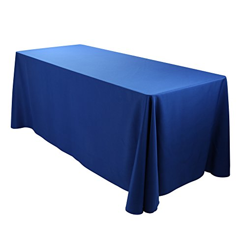 E-TEX Oblong Tablecloth - 90 x 132 Inch Rectangle Table Cloth for 6 Foot Rectangular Table in Washable Polyester , Royal Blue -
