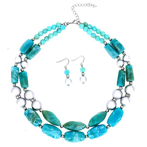 Multi Color Resin Beads - COMELYJEWEL Fashion Jewelry Resin Stone Beads Double Layer Strand Statement Women Necklace and Earrings Set (Blue Green)