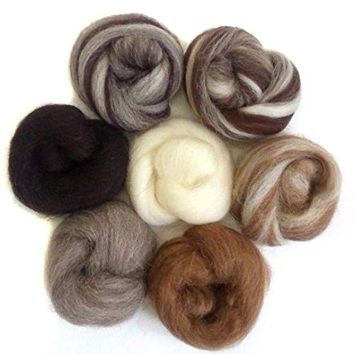 Felting Wool - 7pcs 35g Needle Felting Wool Natural Collection Soft Wool Fiber for Animal Sewing Projects Doll Needlework Felting Crafts