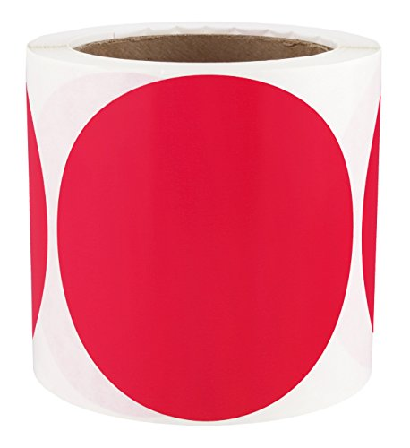 "4"" Red Color-Code Dot Stickers 