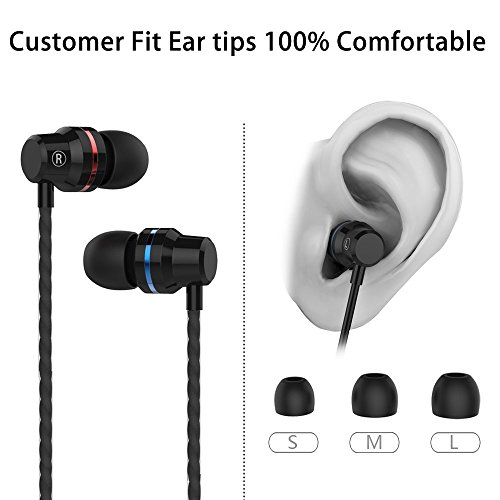 Earphones in Ear Headphones Earbuds with Microphone Mic Stereo and Volume Control Waterproof Wired Earphone for iPhone Samsung Android Mp3 Players Tablet Laptop 3.5mm Audio Black by KURSO (Image #4)
