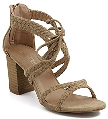 0bcc240b58 Shoes & Style Zima Womens Fashion All-Vegan Braided Strappy Stacked Block  Heel Sandal,