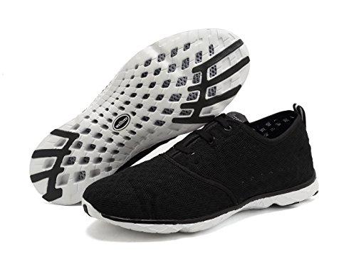welltree Damen und Herren schnell trocknend atmungsaktiv Mesh leichte Slip auf Aqua Wasser Schuhe 3-schwarz