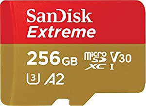 Sandisk SDSQXA1-256G-GN6MA Extreme 256GB microSD UHS-I Card Adapter 160MB/s U3 A2, Black