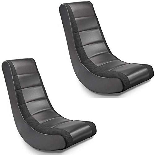 Crew Furniture 51208 Classic Video Rocker Black/Black Mesh Racing Stripe, Set of 2